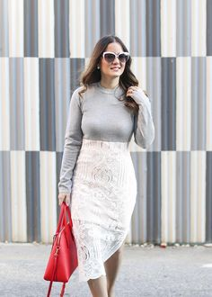 Sweater and lace dress