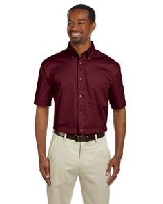 Harriton Men's Easy Blend™ Short-Sleeve Twill Shirt with Stain-Release M500S
