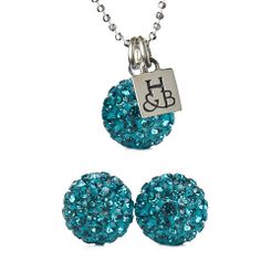 Turquoise Sparkle Earrings and Necklace Set, Hillberg & Berk - For Sandra's Wedding?