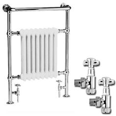 Premier - Traditional Savoy Heated Towel Rail with Pair of Angled Crosshead Radiator Valves