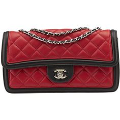 Pre-Owned Chanel Graphic Accordion Flap Black, Red and White Quilted... ($2,300) ❤ liked on Polyvore featuring bags, handbags, shoulder bags, chanel handbags, flap bag, quilted leather purse, flap shoulder bag and quilted leather handbags