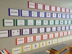 Elementary Music Word Wall - I like the idea of classifying them by grade level