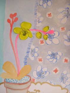 orchid, patterns, neon, metallic, painted in mixed-media on paper