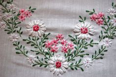 Breath of Fresh Air: June 2010 Ribbon Embroidery Tutorial, Border Embroidery Designs, Kurti Embroidery Design, Floral Embroidery Patterns, Hand Embroidery Flowers, Hand Embroidery Stitches, Silk Ribbon Embroidery, Embroidery Applique, Sewing Patterns