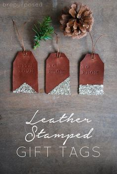 DIY Leather Stamped Gift Tags - LOVE these. You can use them over and over again for family members. Diy Leather Stamp, Diy Leather Goods, Leather Diy Crafts, Leather Gifts, Leather Projects, Handmade Leather, Paint Chip Art, Paint Chips, Diy Gifts