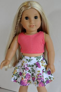 White Floral Skirt with Coral Crop Top by CircleCSewing on Etsy. Made with the Trendy Skater Skirt pattern. Get it here http://www.pixiefaire.com/products/trendy-skater-skirt-18-doll-clothes. #pixiefaire #trendyskaterskirt