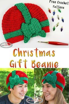 This Christmas Gift Beanie will be hit this year during the Holiday Season. Maybe it will go viral. But it will for sure be loved by everyone, especially at Craft fairs. Get your free crochet pattern and get ready for the fall and winter season. #freecrochetpattern #free #crochet #pattern #crochetpattern #freecrochet #freepattern #christmas #christmascrochet #christmasbeanie #beanie #christmasgift #giftbeanie #gift #present #christmaspresent Christmas Crochet Patterns, Holiday Crochet, Crochet Flower Patterns, Crochet Patterns For Beginners, Crochet Gifts, Easy Crochet, Crochet Flowers, Crochet Baby, Free Crochet