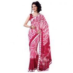 Georgette Lace Work Red & White Floral Print Designer Saree   Floral Saree, Blouses Saris, Indian Attire, Indian Designers, Indian Designer Sarees, Saree Blouses, Glamorous Blouses, Saris Blouses, Indian Design Saree  #fashion #style #StayTrendyWithIndiaRush