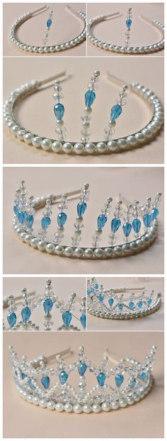 The white wedding crown is made of pearl and crystal for bridesmaid, wanna to do for yourself or your friends?