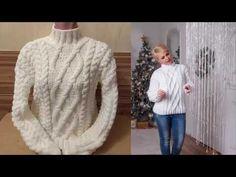 Эффектный белый свитер спицами - YouTube