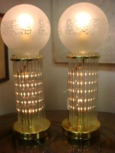 Pair of Metal Lamps with Glass Rods, Lighted Cente