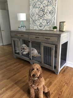 Double Dog Kennel for 2 Large Dogs | Custom Large Dog Crate Custom Dog Kennel, Wooden Dog Kennels, Dog Kennel Designs, Diy Dog Kennel, Diy Dog Bed, Dog Crate Table, Wood Dog Crate, Dog Crate Furniture, Diy Dog Crate