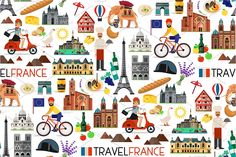 France Travel Icons. by Moloko88 on @creativemarket