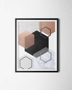 Copper Hexagon Wall Art, Abstract Print, Minimalist Art, Geometric Poster,  Digital Print