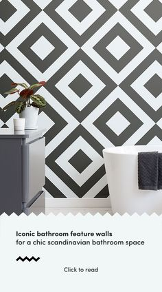 Create a bold & stylish interior or feature wall with our awesome black & white geometric wallpaper mural. Scandi Wallpaper, Scandinavian Wallpaper, Geometric Wallpaper Murals, Scandinavian Bathroom, Bathroom Wallpaper, Wallpaper Ideas, Diy Storage Mirror, Bathroom Feature Wall, Feature Walls
