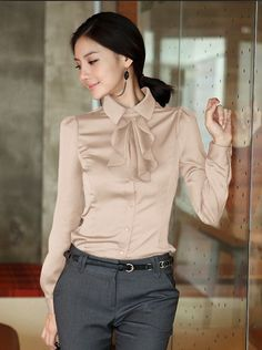 Women Blouse Sexy Dress Shirt Faux Silk Casual Tops Lady Summer Outdoor Fashion Clothes New Style Blue Color Casual Work Outfits, Office Outfits, Work Attire, Work Casual, Classy Outfits, Casual Tops, Business Attire, Business Fashion, Work Fashion