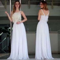 Sexy A-line Jewel Empire Floor-length Beading white Evening Dress