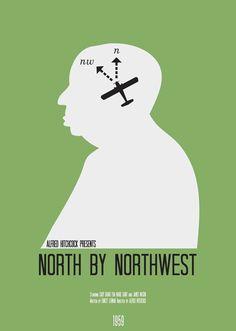 Cartel minimal peliculas Hitchcock: North by Northwest