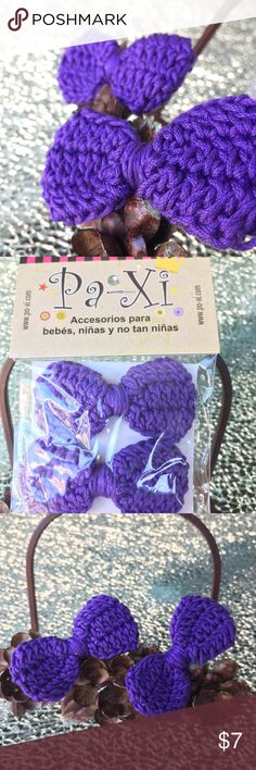 """Knitted Bow Clips Beautiful knitted bow clips (2 per package) easy to put on the little ones and very comfortable. About 3"""" long and 1.5"""" wide. Purple color---Please see other listing for additional colors! :) Paxi Accessories Hair Accessories"""