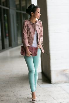 LOVE the jacket!!  But I wish it had a collar.  Not sure about the pant color....