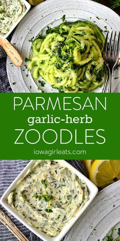 Serve Parmesan Garlic-Herb Zoodles as an easy, gluten-free, low-carb side dish for any dinner or occasion! | iowagirleats.com #glutenfree