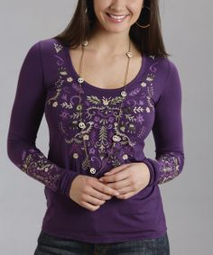 Throw on this haute hippie top for style that just won't quit. With vibrant crewel embroidery and a cozy long-sleeve silhouette, it's the perfect laid-back look.