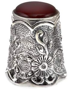 Sterling and Red Onyx Thimble ♥ Beautiful Design sterling sewing notions thimble thimble silver collecting 925