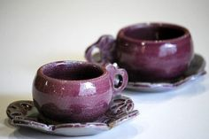 espresso cups  set of two in deep purple by claylicious on Etsy, $46.00