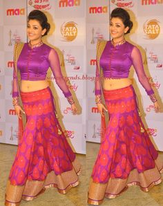 PURPLE Trend 2013 | ... Sarees: Kajal in Purple Designer Lehenga at Cine Maa Awards 2013
