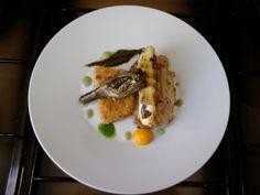 Porc Cordon bleu et cannoli de pommes de terre au ricotta, artichaut avec sauce de fenouil Gino D'Aquino