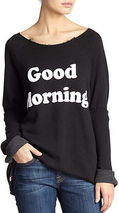 Wildfox 'Good Morning' Printed Oversized Sweatshirt
