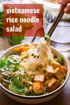 Say goodbye to boring salads! Rice noodles, crisp veggies, a zippy soy ginger dressing and savory-sweet hoisin glazed tofu make this meal-worthy Vietnamese-inspired rice noodle salad absolutely irresistible. Vegetarian Vietnamese, Vietnamese Noodle Salad, Vegetarian Pho, Vegetarian Recipes, Vietnamese Recipes, Rice Recipes For Dinner, Tofu Recipes, Asian Recipes, Asian Rice