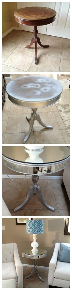 Found an old table priced right at $15. Spray painted it metallic grey. Then went to a mirror store and had them put mirrors on top and all around.Total cost of project (including table) $90!! Can't beat that!!