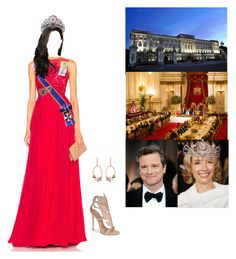 """*Flashback*Attending the wedding reception of HM King James III and Dr. Evangeline Rockefeller with her parents"" by princessofleinster ❤ liked on Polyvore featuring Zuhair Murad, Giuseppe Zanotti, Swarovski and Firth"