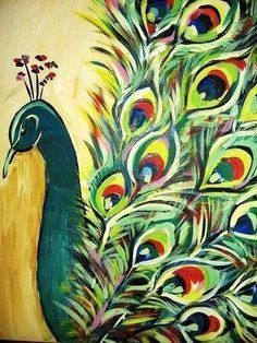 All information about Peacock Art Canvas. Pictures of Peacock Art Canvas and many more. Acrylic Painting Techniques, Acrylic Paintings, Easy Paintings, Watercolor Paintings, Painting Pictures, Peacock Painting, Peacock Artwork, Peacock Print, Beginner Painting
