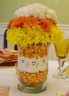 Fun Halloween Candy Corn Centerpiece. #Halloween #Decorations #ShermanFinancialGroup