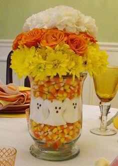 Fun Halloween Candy Corn Centerpiece.  #Halloween #Decorations #ShermanFinancialGroup