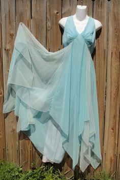 Angelic light blue flowy goddess gown by myliltreasureboxx on Etsy