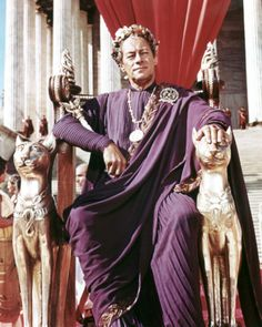 Rex Harrison as Caesar in Cleopatra wears Joseff Hollywood Jewelry along with the sceptor made by Joseff Hollywood