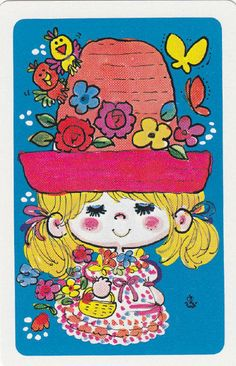 * Vintage Swap / Playing Cards - 1 Single - Japanese, Ado Mizumori girl big hat Vintage Playing Cards, Vintage Cards, Vintage Images, Retro Illustration, Character Illustration, Retro Art, Colorful Drawings, Illustrations And Posters, Anime Chibi