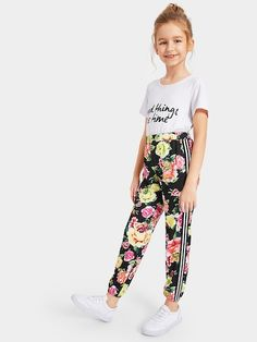 To find out about the Girls Striped Trim Floral Pants at SHEIN, part of our latest Girls Pants & Leggings ready to shop online today! How To Wear Leggings, Girls In Leggings, Girls Pants, Tight Leggings, Leggings Are Not Pants, Women Pants, Cute Girl Outfits, Kids Outfits, Black Blouse