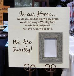 In our Home / We are family Oak Wood Personalized Picture Frame 18x18 saying by Frame your Story.