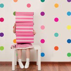 36 Confetti Rainbow of Colors Polka Dot Wall by WallDressedUp, $36.00