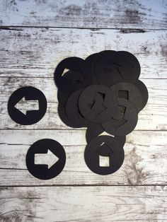Circle and Arrow Die Cut - black paper - pack of 25 by papercraftsbyjen on Etsy https://www.etsy.com/listing/265187679/circle-and-arrow-die-cut-black-paper