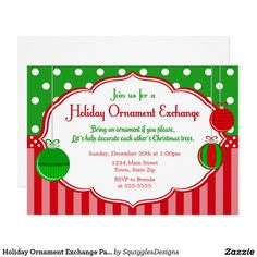 Holiday Ornament Exchange Party Invitation