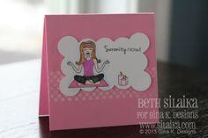 Gina K. Blog Hop: Lots of Dots, Darling Divas, Petite Border Serenity Now card card by Beth Silaika #lotsofdots #serenitydiva  #bethsilaika #freckledandfun #gkd #ginakdesigns