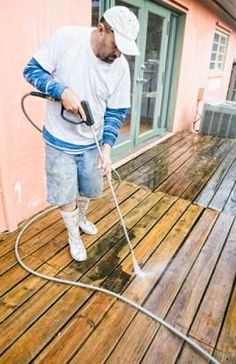 "Homemade Deck Cleaner  ""•Baking soda is one of the best materials you can use, as far as deck cleaning is concerned. Spread some baking soda on the deck surface and spray white vinegar over it. Scrub with a brush, before rinsing off with water."""
