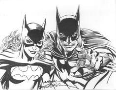 Neal Adams Batman Batgirl Commission Comic Art