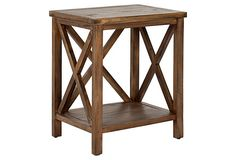 Lucas Cross-Back End Table, Honey on OneKingsLane.com  use to store bath accessories next to the soaking tub