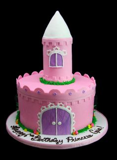 Princess Castle Cake  #birthday #birthdaycake #cakes #cake #kids #kidsforcakes #cakeinspiration #custom #color #fun  #Disney #customcakes #Disneycakes #princess #princesscake #disneyprincess